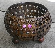 Elegant Coconut Shell Tea Light Candle Holder Handmade for Home, Room, Patio, Party Decor Free Tea Light Frangipani Candle Coconut Shell Crafts, Coconut Leaves, Gourd Art, Woodworking Projects Diy, Tealight Candle Holders, Tea Light Holder, Handmade Decorations, Gourds, Tea Lights