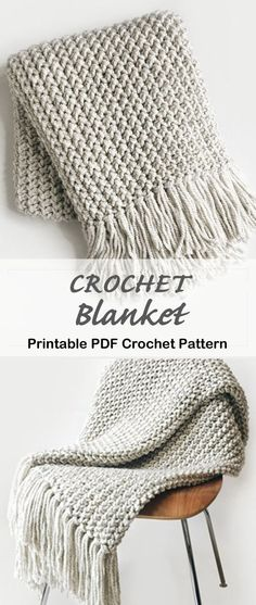 Crochet Afghans, Crochet Throw Pattern, Afghan Crochet Patterns, Knit Or Crochet, Learn To Crochet, Crochet Crafts, Crochet Stitches, Crochet Projects, Knitting Patterns