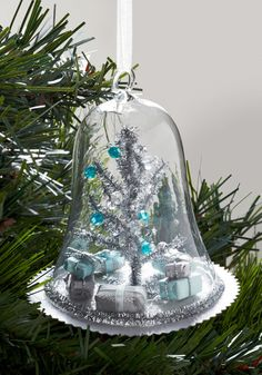 Wishing You a Meta Holiday Ornament - Silver, Blue, Multi, Winter