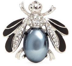 KENNETH JAY LANE Crystal pavé gemstone fly ring