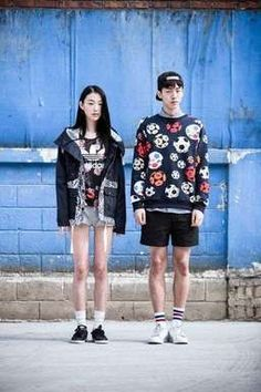 Choi Sora and Nam Joo Hyuk by Kim Tae Kyun for Adidas Originals S/S 2014 Korea Asian Street Style, Japanese Street Fashion, Tokyo Fashion, Korea Fashion, Asian Style, Asian Fashion, Fashion Couple, Girl Fashion, Fashion Design