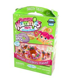 Makes 10+ mini donuts that taste freshly baked with icing and sprinkles. Includes 1 kitchen magic tray, 1 instruction sheet, 1 donut packet, 1 icing packet, 1 sprinkles packet, 1 spoon, 1 measuring sc