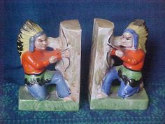 Indian Warrior Porcelain Bookends Antiquee Kitschee Goomee