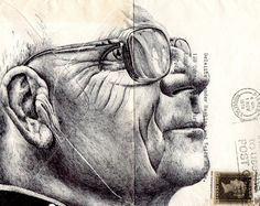New Portraits Drawn on Vintage Envelopes by Mark Powell. Powell executes each drawing with a standard Bic Biro pen using stamped and faded envelopes that traversed the European postal system more than a century ago. Portrait Drawing, Biro Art, Art Sketchbook, Mail Art, Underground Art, Art, Mark Powell, Portrait, Envelope Art