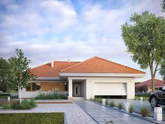 Find home projects from professionals for ideas & inspiration. AMBROZJA 7 by Biuro Projektów MTM Styl - domywstylu. Craftsman Bungalow Exterior, Craftsman Bungalows, Model House Plan, My House Plans, Design Exterior, Exterior House Colors, French Country Exterior, Small Cottage Homes, House Construction Plan