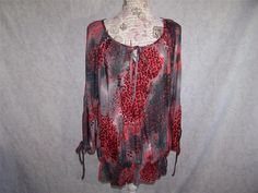 URBAN MANGO Shirt Top M BOHO Cold Shoulder Smocked Stretch Animal Print Womens #UrbanMango #KnitTop #Casual