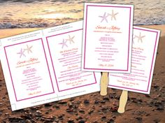 Wedding Fan Fuchsia Orange Starfish Microsoft Word Template - Ceremony Program - Outdoor Beach Wedding Program Favor by PaintTheDayDesigns on Etsy, $7.75