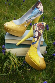 Beauty and the Beast Inspired shoes with glitter heel, Size UK 6/ EU 39/ US 8. by TanzaniteButterfly on Etsy