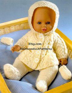 Vintage Knitting Pattern PDF Dolls Clothes Aran Hoodie Jacket Leggings and Mitts Premature Baby Reborn Dolls Baby Knitting Patterns, Knitting Dolls Clothes Patterns, Knitted Doll Patterns, Knitted Dolls, Baby Patterns, Clothing Patterns, Free Knitting, Double Knitting, Knitted Bags