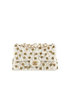 Chanel Ivory/Gold Embroidered Jersey Classic Flap Medium Bag