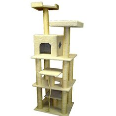 """The white 47"""" Majestic Pet Products Bungalow Faux Sheepskin Cat Tree -- Be sure to check out this helpful article. #CatDoorsPensStep"""