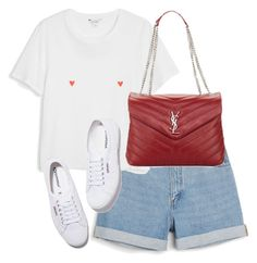 """""""Untitled #4348"""" by theeuropeancloset on Polyvore featuring Monki, Yves Saint Laurent and Superga"""