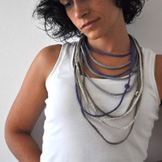 Crochet Bracelet and Necklace in one piece. Silver color . Simple, beautiful and lightweight .