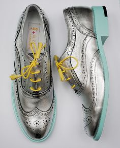 Mint and metallic brogues