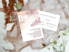 Qty 25 - Blush Watercolor Wedding Invitations, Watercolor Invitations, Brush Lettered Invites, Blush Wedding Invitations, Wedding Invites