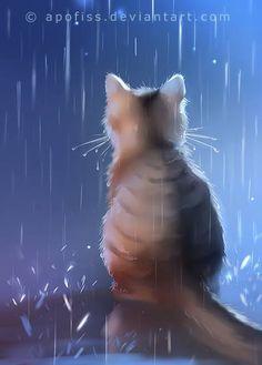 Elysian Feline by ThreshTheSky on DeviantArt Image Chat, Devian Art, Cute Animal Drawings, Warrior Cats, Cat Drawing, Animal Paintings, Beautiful Cats, Rainy Days, Cat Art