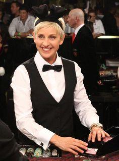 Ellen DeGeneres in a mixed Bunny / Casino Dealer Costume - See more: http://www.internetbet.com/articles/celebrities-in-casino-costumes-36868/ #ellendegeneres #costumeideas  #bunnycostume