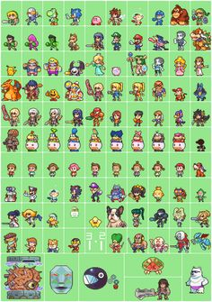 neorice:  100+ smash 4 sprites.For some reason I never compiled all of these into one of my 100-sprite sheets. So a bit late, but here's all of them together anyway!Sprites in the style of my webcomic, found @ http://neorice.com