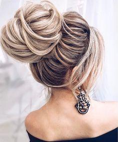 Gorgeous bridal hairstyles ,high bun Wedding hairstyle  | updo hairstyle #messyupdo #bridalupdo #weddinghairstyle #weddingupdo #chignon #weddinghairstyles #bridehair #upstyle #updohairstyles #weddinghair