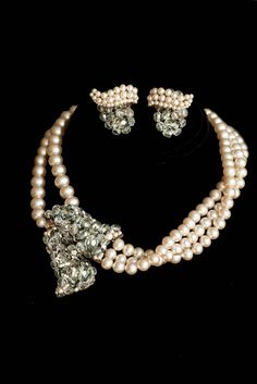 Vintage Coppola e Toppo Jacques Fath Pearl & Crystal Demi Par Necklace Earrings by AMagnificentMess on Etsy