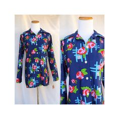Mod Floral Blouse Shirt Vintage Flower Power Button Up Top Hippie 70's 1970's Psychedelic Long Sleeve Disco Shirt Size Large Deadstock NOS