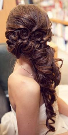 #Wedding #Hairstyle For Long #Hair. Gorgeous side do with curls