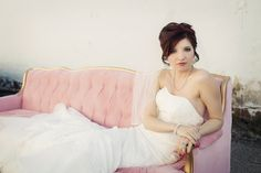Vintage Pink and Gold Sofa Bridal Portrait