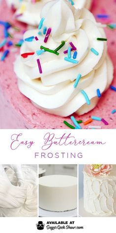 Easy Buttercream Frosting The easiest buttercream frosting ever! Made with pasteurized egg whites, sugar and vanilla! Whips up to the creamiest, not too sweet buttercream frosting you've ever had! You'll never need another buttercream recipe White Frosting Recipes, White Buttercream Frosting, Cupcake Frosting Recipes, Whipped Frosting, Vanilla Buttercream Frosting, Cupcake Cakes, Gourmet Cupcakes, White Icing, Wilton Frosting Recipe