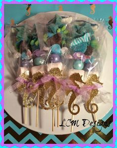 Seahorse Kabobs - Under the Sea - Little Mermaid Candy Buffet Kabobs set of 12 - Coral Colors Little Mermaid Birthday, Little Mermaid Parties, The Little Mermaid, Girl Birthday, Sweet Sticks, Mermaid Baby Showers, Under The Sea Party, 4th Birthday Parties, Birthday Ideas