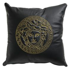Versace Cushion with Versace Logo ($800) ❤ liked on Polyvore featuring home, home decor, throw pillows, black, versace, black accent pillows, contemporary home decor, black throw pillows and black leather throw pillows