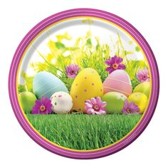 Descriptions Easter Scene 9 Inch Dinner Platess - Design : Easter Scene - Size : 9 Dia. - Shape : Round Features - Easter Ships within 4 Business Days