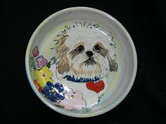 Shih Tzu 8 Ceramic Dog Bowl for Food and Water Personalized at no Charge Signed by Artist Debby Carman -- Check this awesome product by going to the link at the image.