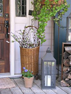 Spring Porch Decor | Pussywillow branches were perfect for the English market basket.