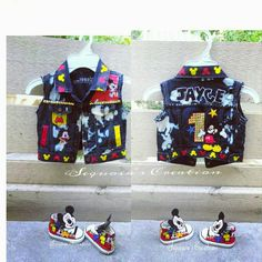 Check out this item in my Etsy shop https://www.etsy.com/listing/470207448/mickey-denim-vest-with-matching-custom