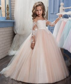 2017 Champagne Flower Girl Dress for Weddings Long Sleeves Ball Gown Puffy Lace Girl Party First Communion Dresses Pageant Gowns Kids Pageant Dresses, Wedding Dresses For Kids, Pageant Gowns, Wedding Party Dresses, Ball Dresses, Ball Gowns, Tutu Dresses, Dress Prom, Prom Party