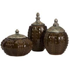 I pinned this 3 Piece Darcy Hobnail Canister Set from the 55th Street Designs event at Joss and Main!