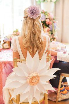 such pretty paper flowers Wedding Chair Decorations, Wedding Chairs, Wedding Seating, Large Paper Flowers, Paper Flowers Wedding, Wedding Bouquets, Tea Party Wedding, Best Wedding Gifts, Wedding Day