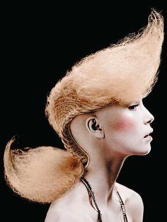 I hope this trend doesnt stick. Love Hair, Big Hair, Creative Hairstyles, Cool Hairstyles, Sharon Blain, Catwalk Hair, Hair Expo, High Fashion Hair, Avant Garde Hair