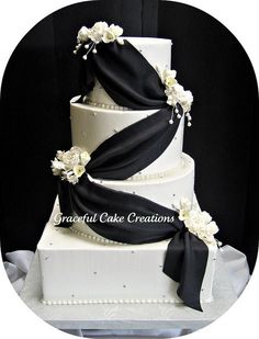 Elegant Black and White Wedding Cake by Graceful Cake Creations