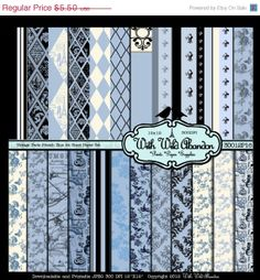 On Sale French Blue Digital Paper Vintage Paris by withwildabandon, $4.13