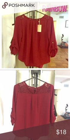 Lace blouse (NWT) Lace blouse. Brand: Iris. New With Tags Attached (NWT). Color: Burgundy. Size: Large. 3/4 sleeve length. 100% Polyester. Iris Basic Tops Blouses