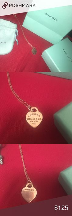Authentic Tiffany necklace and box and bag  Duplicate present ❤️ comes with everything  Tiffany & Co. Jewelry Necklaces