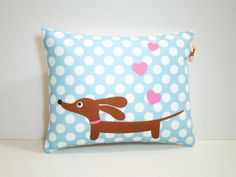 Dachshund+Dog+Pillow++Love+a+Doxie+Baby+Blue+by+persnicketypelican,+$18.00