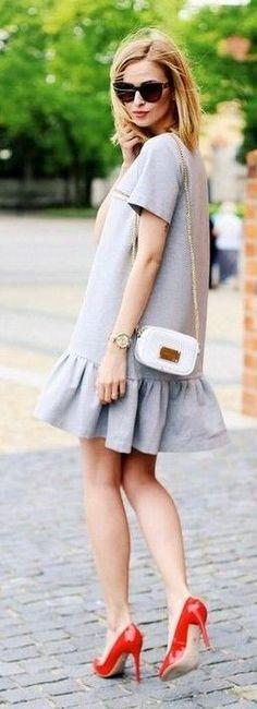 #summer #trending #outfits | Grey ruffle Dress + Red Heels