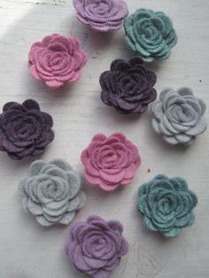 WOOL Felt Flowers-Cozy Socks Collection-Felt Posie-Felt Rosette-Felt Flower Die Cut-Felt Roses-Felt Flower