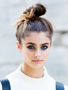Top knot + killer eye makeup!