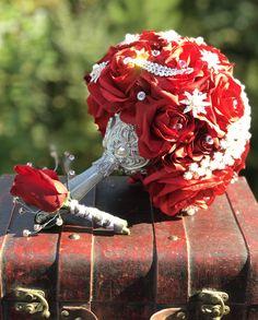 Custom bouquets by Alwaysadornable Wedding Themes, Wedding Events, Wedding Ideas, Weddings, Flowers Wine, Wedding Brooch Bouquets, Yes To The Dress, Handmade Wedding, Traditional Wedding