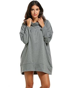 Zeagoo Women Cowl Collar Raglan Sleeve Solid Loose Pullover. Sweatshirt. Also comes in black.