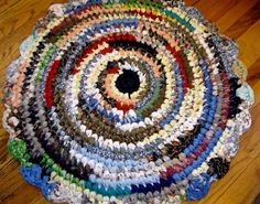 Rag Rug Round Handmade Crochet Rustic Cottage Farmhouse  Multi Color Accent Rug…