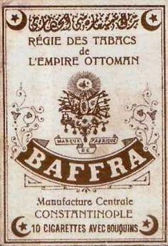 Régie des tabas de L'empire Ottoman, BAFFRA Manufacture Centrale CONSTANTINOPLE 10 CIGARETTES AVEC BOUQUINS.